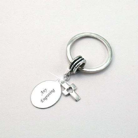 Personalised Keyring with Cross Heart Charm